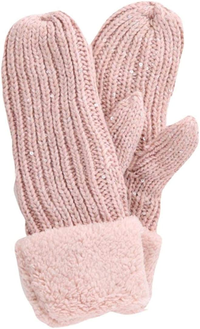 Women's Warm Thick Winter Mittens Cable Knit Pattern Fleece Cuffs Fashion Gloves with Sequins Design Cold Weather Accessories