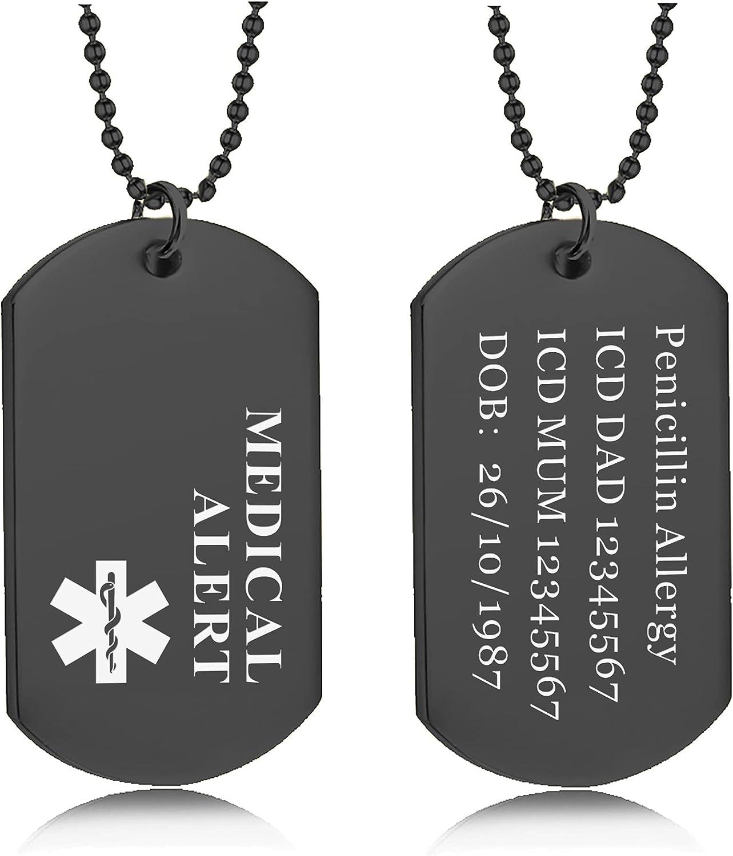 Men Jewellery howson london Medical Alert Dog Tag Necklace for Men ...