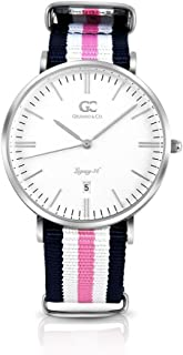Gelfand & Co. Women's Minimalist Watch Pink/Navy Blue NATO Strap Morris 36mm Silver with White Dial
