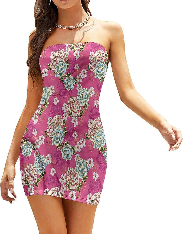 Women's Summer Strapless Dresses Paisleys Swirled Lines Dresses