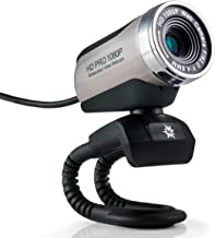 USB 2.0 HD Pro Widescreen Video Full 1080p Webcam with Built in Microphone and Flex Stand for Windows PC, Laptops and Apple OS X