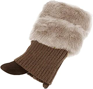 Stiefelsocken beige warm geh/äkelt mit Fellbesatz Aawsome Damen Winter-Beinw/ärmer
