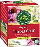 Traditional Medicinals Organic Throat Coat Lemon Echinacea Seasonal Tea 32 ct (Pack of 3), Supports...