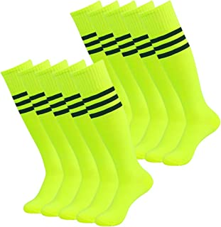3street Unisex Knee High Triple Stripe Athletic Soccer Tube Sock 2/6/10 Pairs
