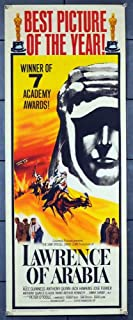 Lawrence Of Arabia (1962) Original U.S. Academy Awards Insert Card Movie Poster 14x36 PETER O'TOOLE ALEC GUINNESS JACK HAWKINS ANTHONY QUAYLE ANTHONY QUINN CLAUDE RAINS JOSE FERRER Film Directed by DAVID LEAN.