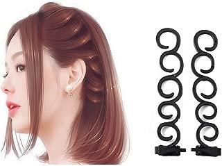 2 PCS Black Hair Styling Braid Tools Clip Stick Twist Plait Hair Braiding Hairdressing Kits DIY Hair Braider Centipede Fishtail Bangs Spiral Hairstyle Hairdressing Accessories
