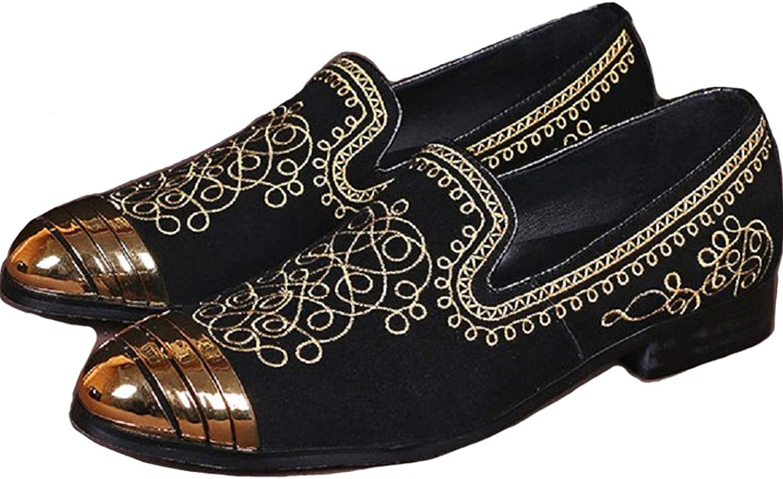 Pang Plus mode svart svart svart mocka läder herr Dress Slip on Broderöd Steel Toe Loafers skor  grossistpris
