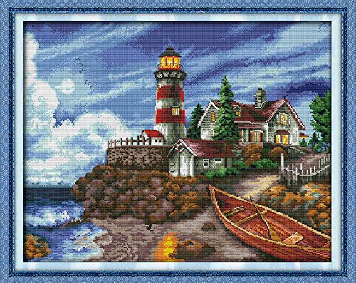 """Cross Stitch Stamped Kits Cross-Stitching Accurate Pre-Printed Pattern for Adults- The Seaside Lighthouse 11CT 27""""X 22"""", for Home Decor (Pattern Printed On Fabric)"""