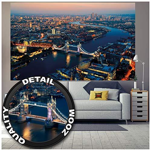 GREAT ART Fototapete – Tower Bridge bei Sonnenuntergang – Wandbild Dekoration London Skyline Großbritannien UK Sunset Themse Great Britain United Kingdom Foto-Tapete (210 x 140 cm)