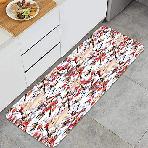 YANAIX Juegos de alfombras de Cocina Multiusos,Conejos pinzón pájaros algodón Planta Ramas,Alfombrillas cómodas para Uso en el Piso de Cocina súper absorbentes y Antideslizantes