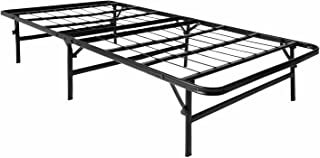 LUCID Foldable Metal Platform Bed Frame and Mattress Foundation -Strong and Sturdy Support - Quiet Noise Free - Twin Size