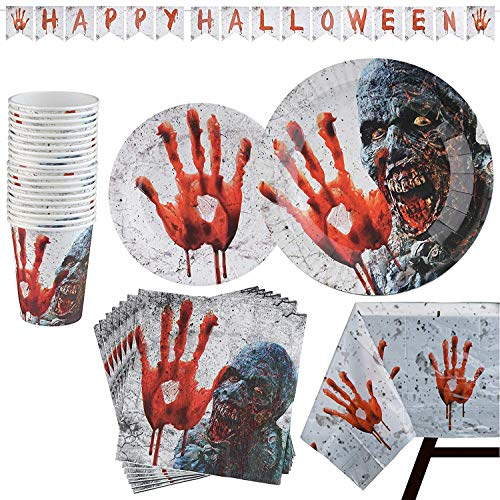 82 Piece Halloween Party Set Including Banner, Paper Plates, Cups, Napkins and Tablecloth, Serves 20