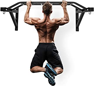 "Wall Mount Pull-Up Bar - 48"" Multi-Grip Chin-Up Station with Hangers for Punching Bags, Power Ropes for Home Gym Strength Training Equipment"