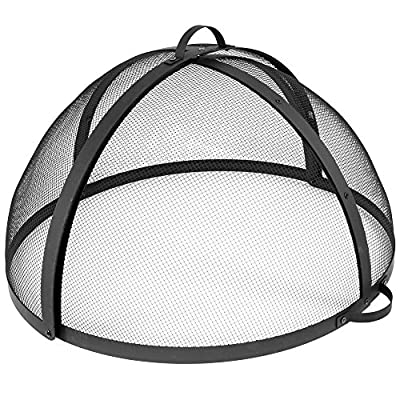 Sunnydaze Easy-Opening Fire Pit Spark Screen Cover Accessory - Outdoor Backyard Heavy-Duty Round Firepit Ember Arrester Lid with Hinged Door - 30 Inch