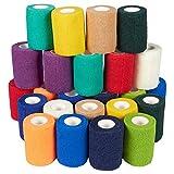Selbsthaftende Bandage von Juvale (24 Rollen) - Für Erste Hilfe, Sportverletzungen - Luftdurchlässig - Zur Unterstützung von Muskeln, Bändern, Gelenken - 12 Farben - Je 7,6cm x 5Meter