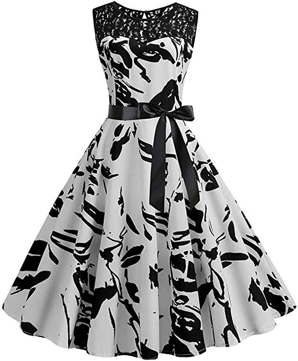 DMIZ Women Vintage Sleeveless Lace Splice Printing Party Prom Swing Dress Sleeveless Long Sleeve Loose Plain Maxi Dresses Casual Long Dresses Swing Party Dress with Bow (Size   XL)