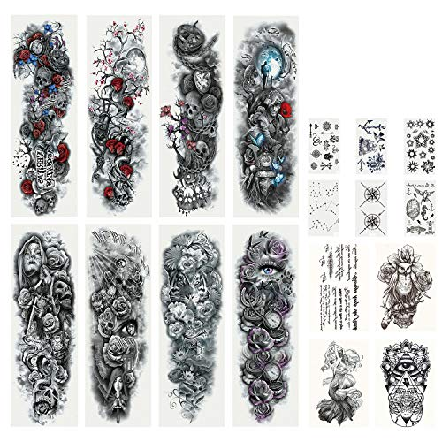 DaLin Extra Large Full Arm Temporary Tattoos and Half Arm Tattoo Sleeves for Men Women, 18 Sheets (Collection 1)