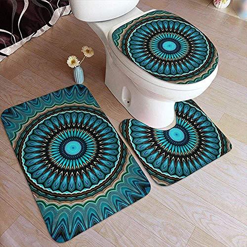 DearLord Juego de alfombras de baño de 3 piezas, diseño de mandala, color turquesa, azul y verde, redondas, antideslizantes, en forma de U, alfombra y tapa de inodoro