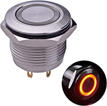 Ulincos Momentary Push Button Switch U19D1 1NO SPST Silver Stainless Steel Shell with Red LED Ring Suitable for 19mm 3/4