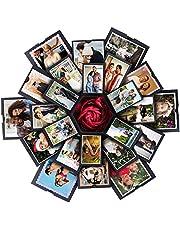 VEESUN Explosiebox Geschenkdoos met 6 Gezichten, Creatieve Verrassingsdoos, Doe-Het-Zelf Fotoalbum, Trouwdag, Verjaardag, Moederdag, Valentijnsdag, Bruiloft, Gepersonaliseerd Cadeau, Zwart