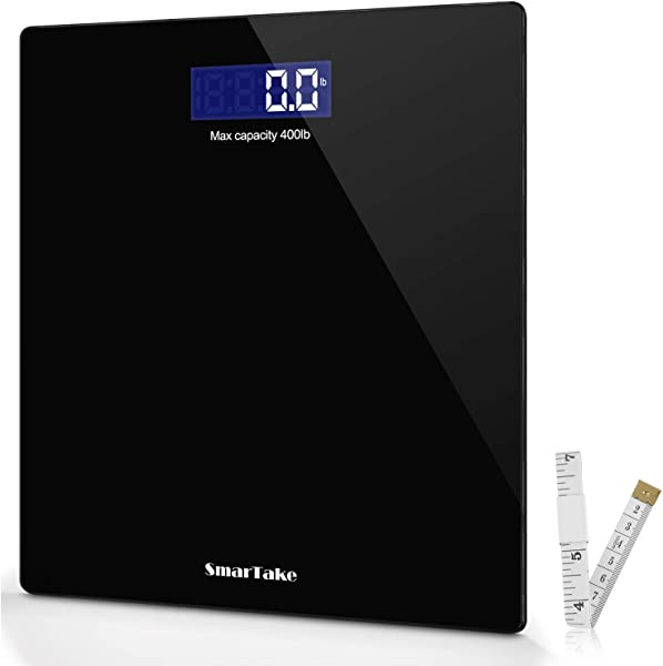 Weight Scale SmarTake Precision Digital Body Bathroom Scale With Step On Technology 6mm Tempered Glass Easy Read Backlit LCD Display 400 Pounds Black