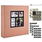 Benjia - Álbum de fotos tradicional autoadhesivo, gran formato en blanco, autoadhesivo, tejido con adhesivo para 10 x 15, 11,5 x 15 y 13 x 18 (50 hojas/100 páginas), color caqui