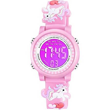 Venhoo Kids Watches 3D Cartoon Waterproof 7 Color Lights Toddler Wrist Digital Watch with Alarm Stopwatch for 3-10 Year Girls Little Child