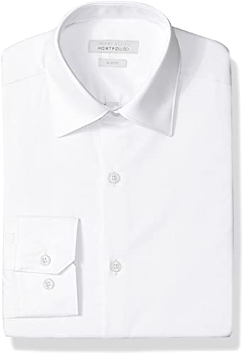 Perry Ellis Hommes's Slim Fit Wrinkle Libre Robe Shirt, blanc, 17 34 35