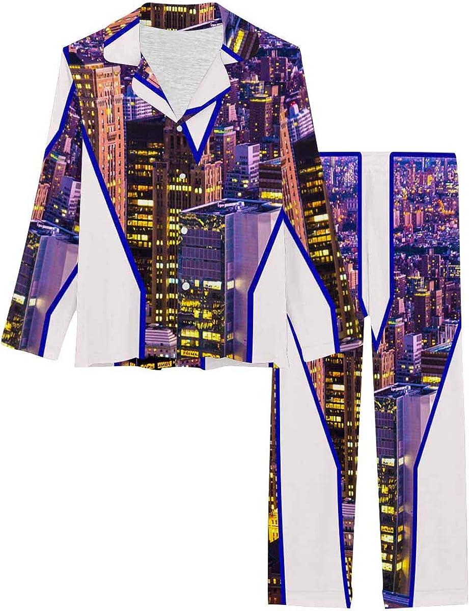 InterestPrint Women's Pajamas Set Button Down Sleepwear with Long Pants New York City Night Cityscape