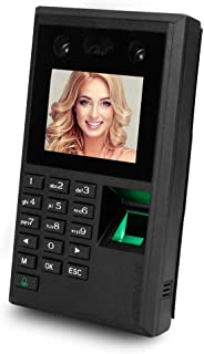 LIBO Face Fingerprint Password Time Attendance Machine Employee Checking-in Payroll Recorder 2.8 inch DC 12V Facial Recognition Access Controller USB U-Disk 10 Language Support