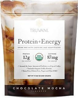 Truvani Protein + Energy Drink Mix with Caffeine & Adaptogens   USDA Certified Organic, Vegan, Non-GMO, & Gluten Free   Ch...