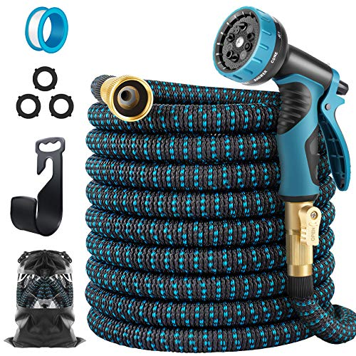 """HARNMOR Expandable Garden Hose 50ft - Flexible Water Hose with 10 Function Nozzle, Double Latex Core and 3/4""""Solid Fittings,3 Times Expanding Kink Free Easy Storage Collapsible Water Hose"""