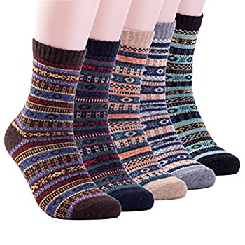 Mens Winter Warm Wool 5 pairs Crew Cute Socks Mixed Color  AJSK37