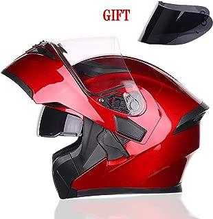 TANMIN Flip-Up Front Motorbike Motorcycle Helmet - Dual Sun Visor + Free Brown Outer Sun Visor + Adjustable Vent Helmet, Passionate Red 57-64Cm,M