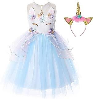 Girls Unicorn Costume Dress Kids Pageant Flower Princess Party Dresses