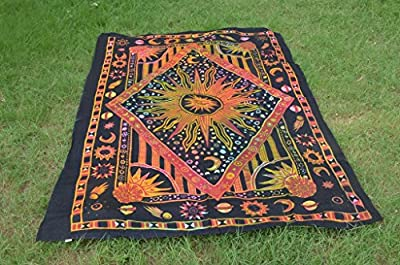 Burning Sun Tapestry Tie Dye Celestial Sun Moon Planet Tapestries Hippie Gypsy Wall Hanging Twin Psychedelic Printed Wall Art Living Room Bedspread Dorm Bohemian Multi Colorful Trippy Beach Towel