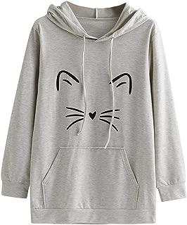 Women's Outwear Fashion Long Sleeve Tunic Blouse Cartoon Printed Hoodie Sweatshirt Pullover Blouse