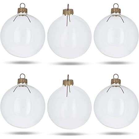 Box Of 4 Large 3 1 4 Glass Ball Christmas Ornaments Clear Home Kitchen