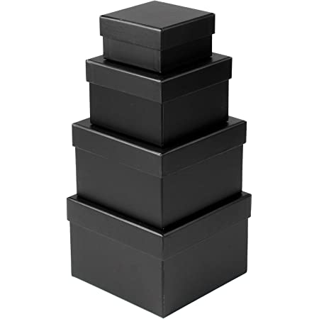 Gift Boxes with Lids Gift Box Assorted Sizes Decorative Nested Gift Wrap Boxes Presents Cardboard Black Boxes for Gifts Birthdays Wedding Valentine's day Anniversary and More - Square Set 4