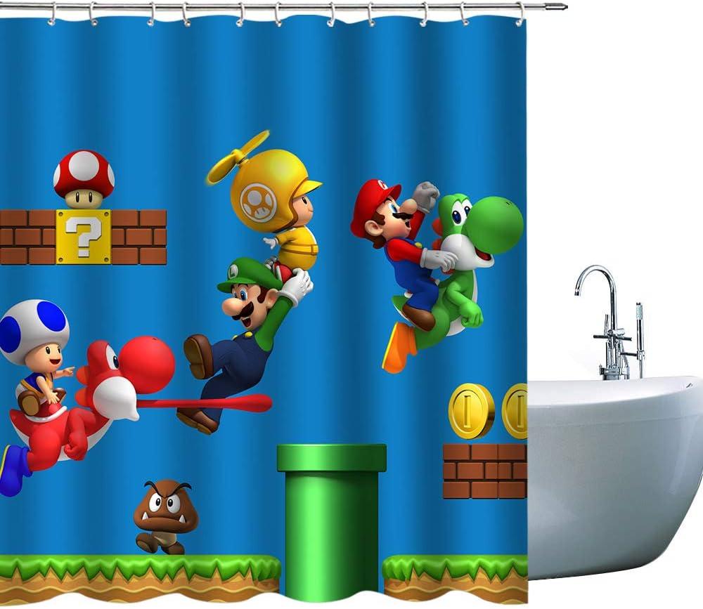 Kids Cartoon Superior Shower Curtains Super Large discharge sale 3D Mario Print Children Show