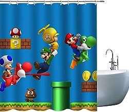 Kids Cartoon Shower Curtains Super Mario, 3D Print Children Shower Curtain, Kids Boy Bath Décor Fabric Curtains Sets with Hooks, 71 x 71 inch