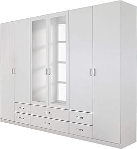 Rauch   Drehtürenschrank Gamma - 6-türiger Kleiderschrank mit Spiegel und 6 Schubladen - Front und Korpus in Weiß - 270 x 210 x 54 cm