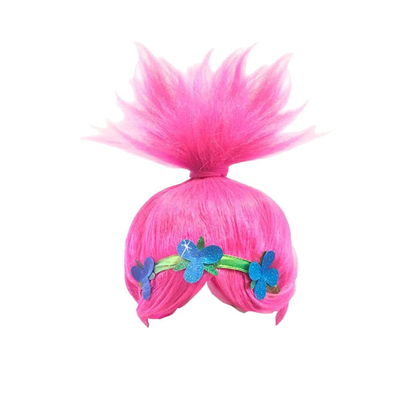 Pink Trolls Poppy Costume Wigs Cosplay Wig Halloween Party Head Accessories for Women and Girls (8195)