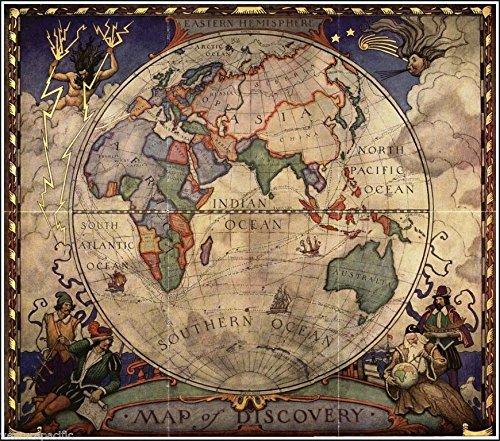 N. C. Wyeth Map of Discovery - Eastern Hemisphere Circa 1928 Art Print