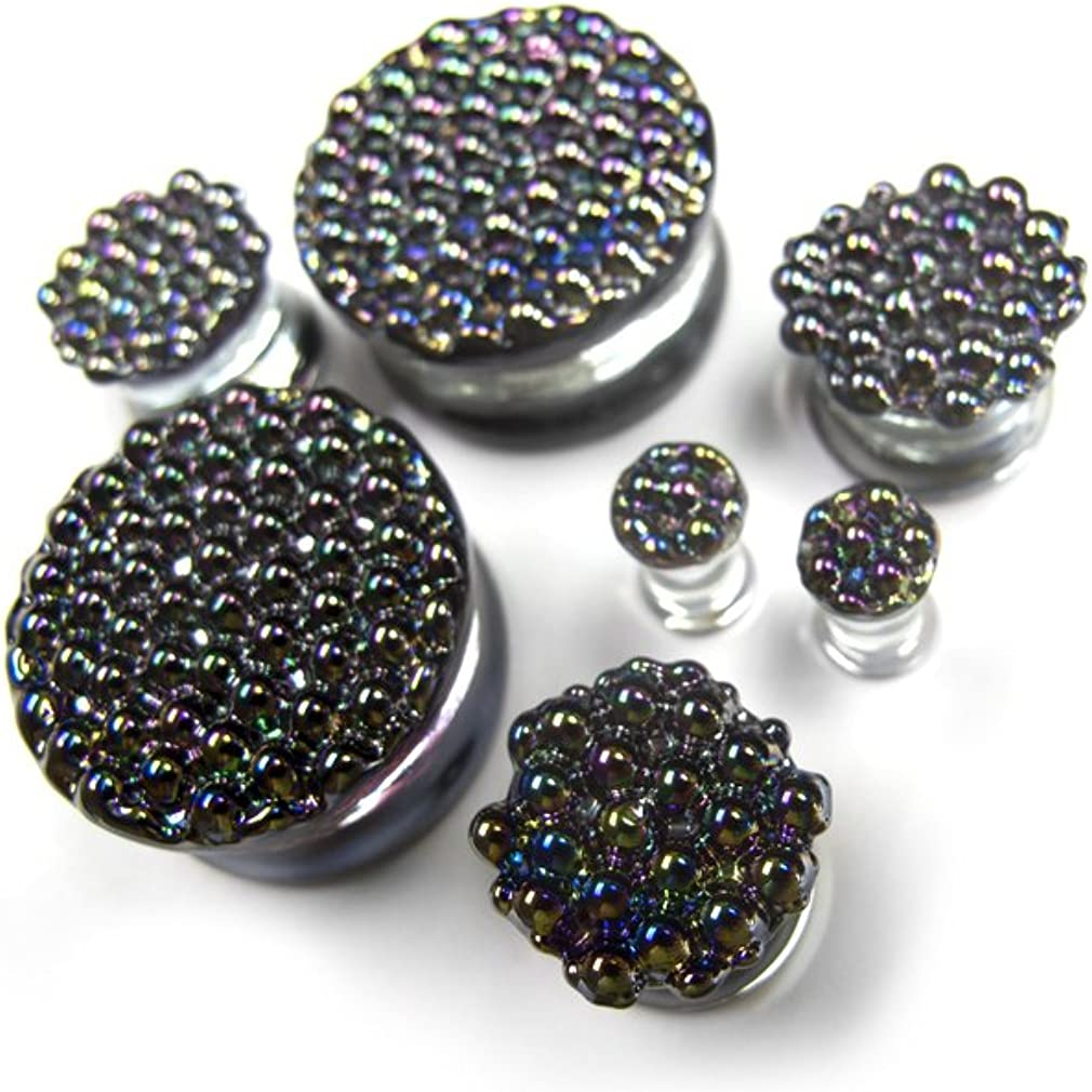 Urban Body Jewelry Pair of Black Iridescent Glass Plugs 5/8