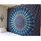 Blue Tapestry Wall Hanging Mandala Tapestries Dorm Decor Hippie Tapestries Bohemian Tapestry Psychedelic Wall Tapestries Bedding Indian Cotton Bedspread Picnic Bedsheet Blanket Wall Art
