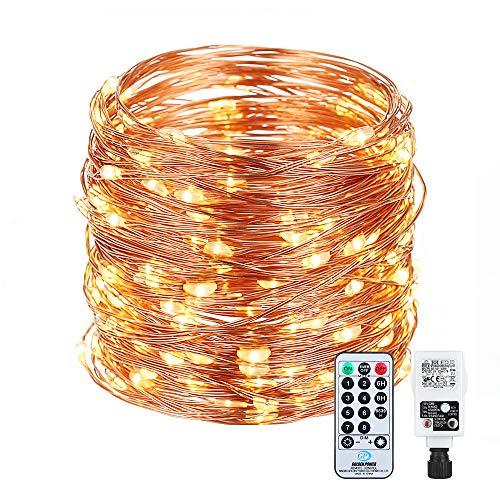 LED Lichterkette, 25M 250LEDs Remote Timer Lichterkette Kupferdraht Wasserdicht , Lichterketten mit Strombetrieben für Innen Außen Weihnachten Partys Garten Hochzeiten,Warmweiß