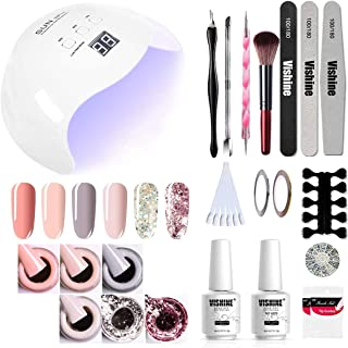 Vishine UV LED Nail Lamp Gel Polish Kit, 40W Gel Nail LED UV Light Base Top Coat 6 Gel Colors Professional Nail Art Manicu...