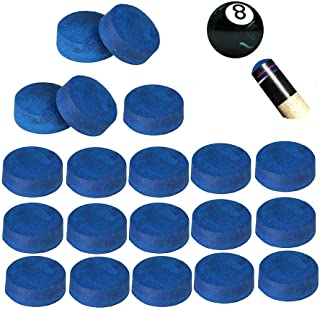 KECHIO 20 Pieces Cue Tips 13 mm Pool Billiard Cue Tips Replacement with Storage Box for Pool Cues and Snooker
