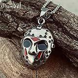 Mendel Stainless Steel Cool Mens Movie Jason Mask Pendant Necklace for Men Chain